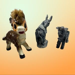 Lot of 3 collectible donkey figurines or curios